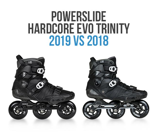 What is the difference between the Powerslide Hardcore EVO 2018 skates from 2019