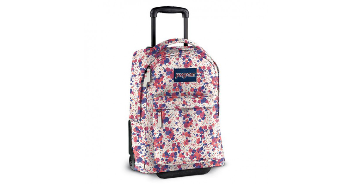 JanSport - Wheeled Superbreak - Vanilla Ice White/Coral Sparkle Gypsy Love  - Only Good Skates